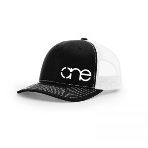 One, Black and White Trucker Hat by Richardson