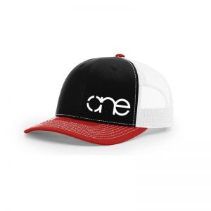One, Black, White and Red Trucker Hat by Richardson