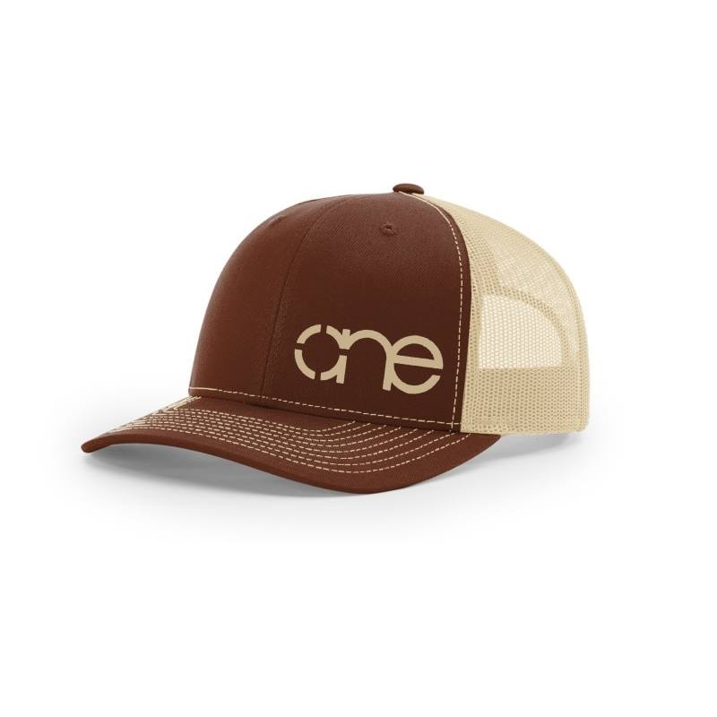 One, Brown and Khaki Trucker Hat by Richardson