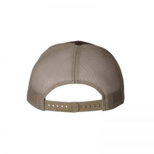 One, Brown and Khaki Trucker Hat Rear View by Richardson