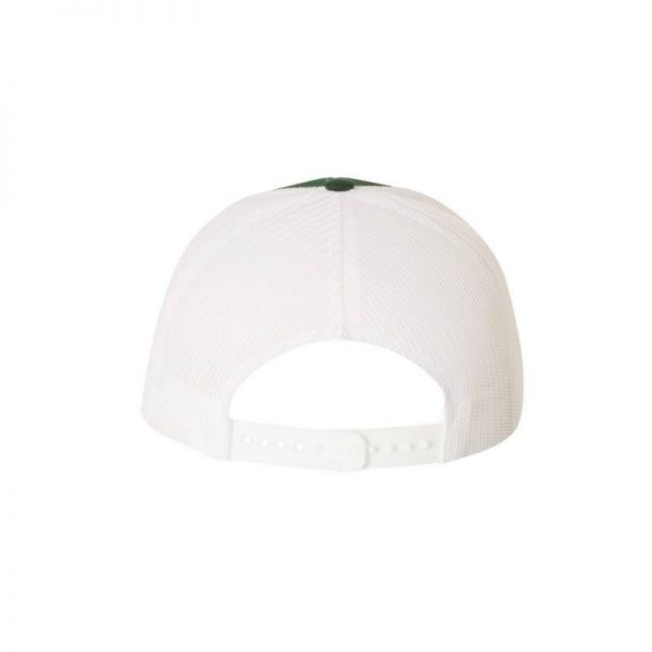 One, Dark Green and White Trucker Hat Rear View by Richardson