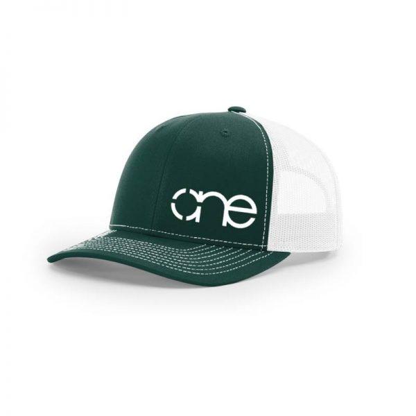 One, Dark Green and White Trucker Hat by Richardson