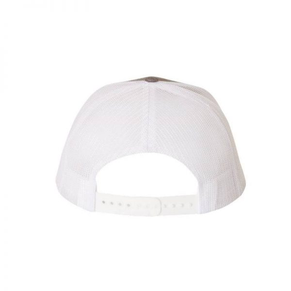 One, Medium Grey and White Trucker Hat Rear View by Richardson