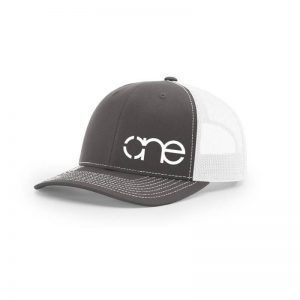 One, Medium Grey and White Trucker Hat by Richardson.