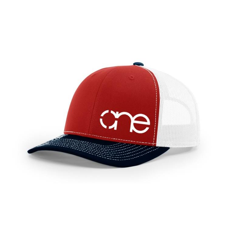One, Red, White and Navy Trucker Hat by Richardson