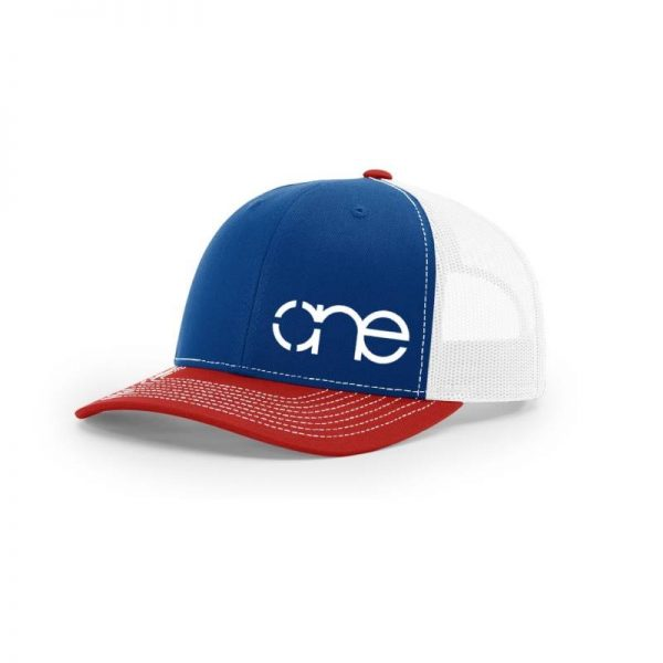 One, Royal, White and Red Trucker Hat by Richardson