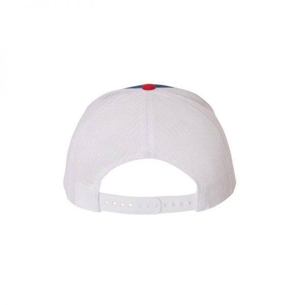 One, Royal, White and Red Trucker Hat Rear View by Richardson