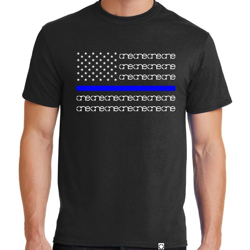 One Blue Line Black Short Sleeve Shirt