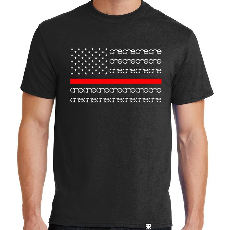 One Red Line Black Short Sleeve Shirt
