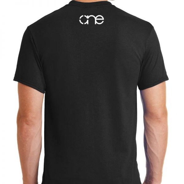 Men's, Black, short sleeve, One Christian tee shirt, back.