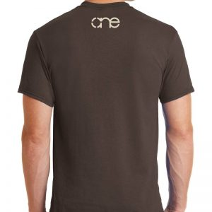 Mens Brown One Way Truth Life Christian Tee Shirt back.