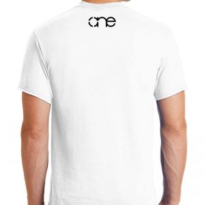 Men's, White, short sleeve, One Christian tee shirt, back.