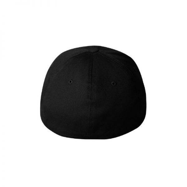 Black Flexfit Hat with Back logo and White outline, back of cap.