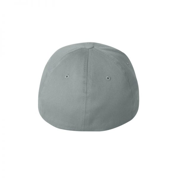 Grey Flexfit Hat with Grey logo and White outline, back of cap.