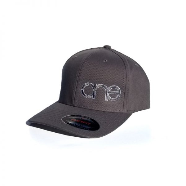 Grey Flexfit Hat with Grey logo and White outline.