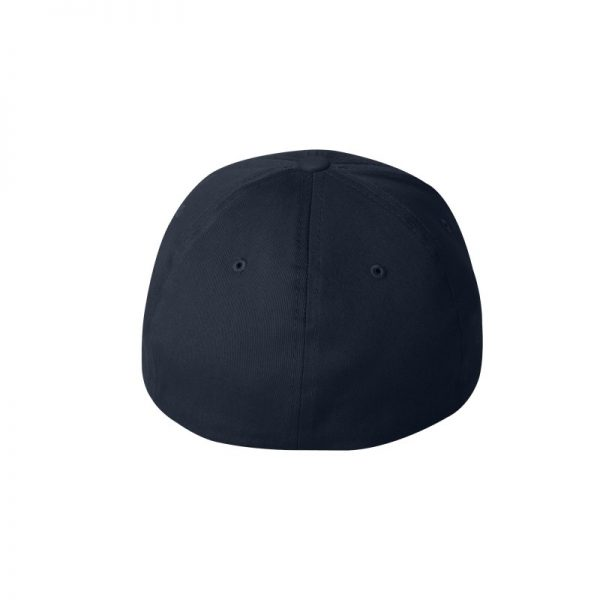 Navy Blue Flexfit Hat with Royal Blue logo and White outline, back of cap.