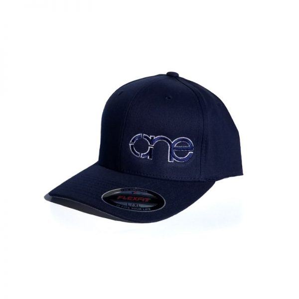 Navy Blue Flexfit Hat with Royal Blue logo and White outline.