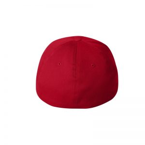 Red Flexfit Hat with Red logo and White outline, back of cap.