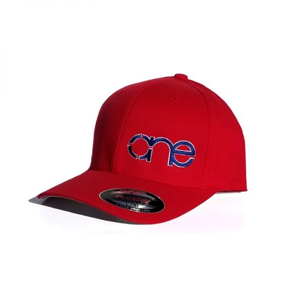 Red Flexfit Hat with Royal Blue logo and White outline.