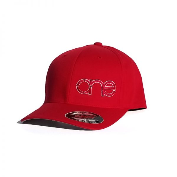 Red Flexfit Hat with Red logo and White outline.