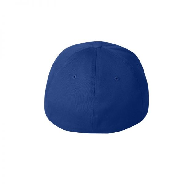 Royal Blue Flexfit Hat with Royal Blue logo and White outline, back of cap.