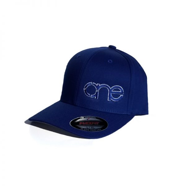 Royal Blue Flexfit Hat with Royal Blue logo and White outline.