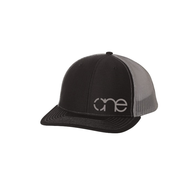 "Black and Grey ""One"" Trucker Hat with White logo, snapback."