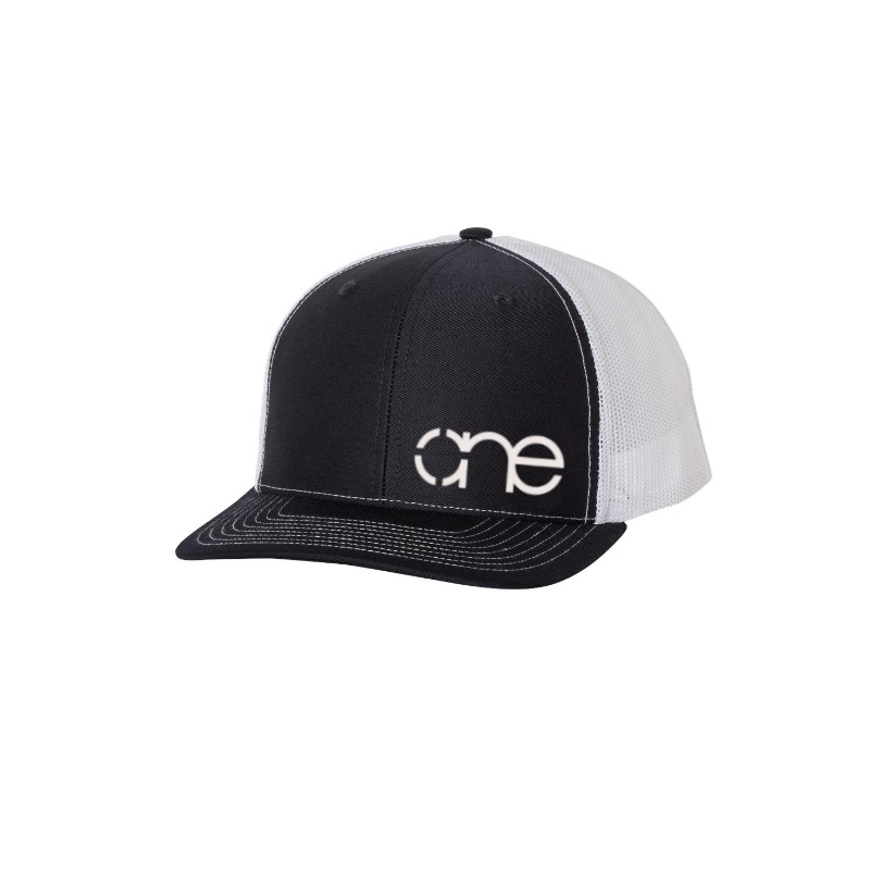 "Navy Blue and White ""One"" Trucker Hat with White logo, snapback."