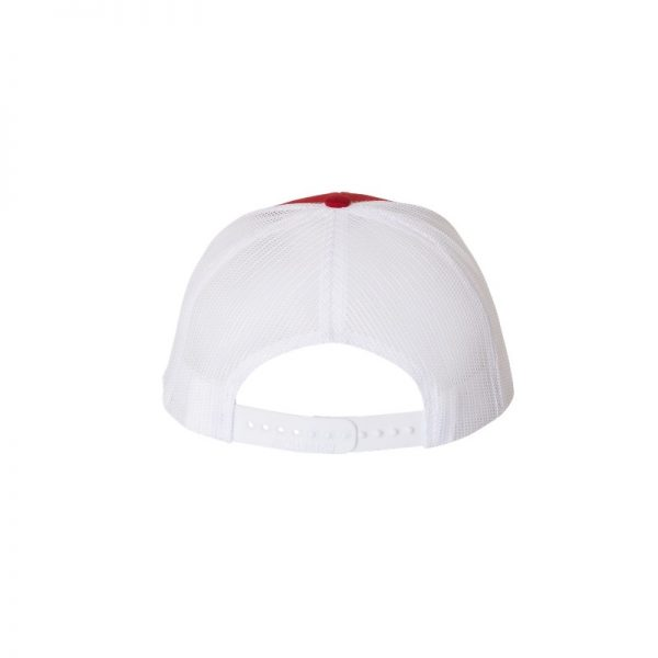 "Red and White ""One"" Trucker Hat with White logo, snapback, rear of cap."