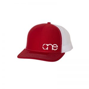 "Red and White ""One"" Trucker Hat with White logo, snapback."