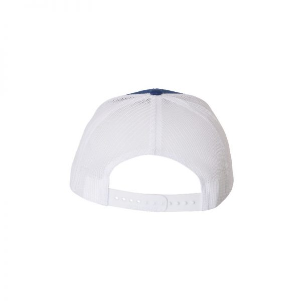 "Royal Blue and White ""One"" Trucker Hat with White logo, snapback, rear of cap."