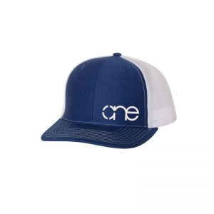 "Royal Blue and White ""One"" Trucker Hat with White logo, snapback."