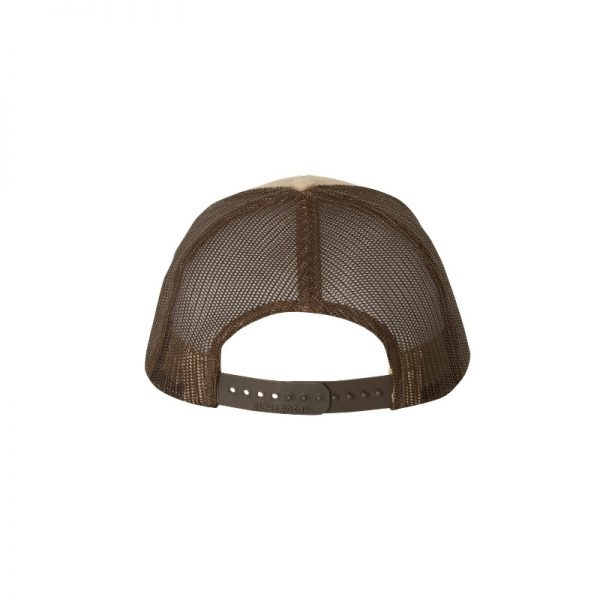 "Khaki and Brown ""One"" Trucker Hat with White logo, snapback, rear of cap."