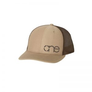 "Khaki and Brown ""One"" Trucker Hat with White logo, snapback."