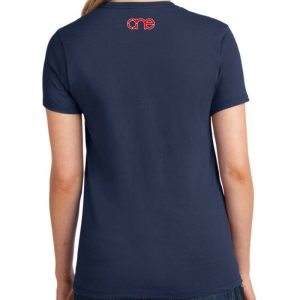 Ladies navy blue short sleeve Christian tee shirt with One logo on back.