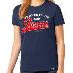 "Ladies navy blue short sleeve ""Property of Jesus"" Christian tee shirt."