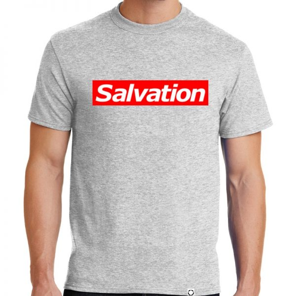 "Men's Ash Grey short sleeve ""Salvation"" One Christian Tee Shirt in Red and White."