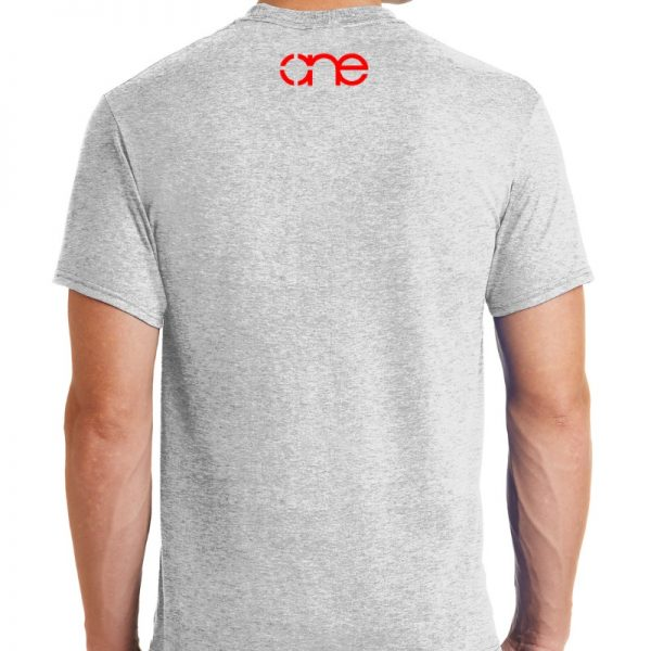 Mens Ash Grey short sleeve shirt rear, with one logo in red on the upper back.