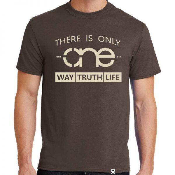 Mens Brown One Way Truth Life Christian Tee Shirt