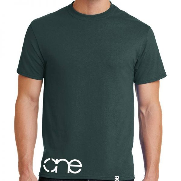 One waist christian tee in dark green with white design.