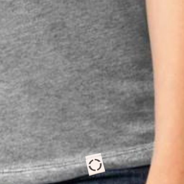 Ladies Heather Grey One shirt with woven label close up.