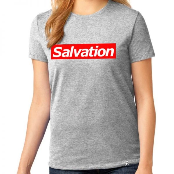 """Ladies Ash Grey short sleeve """"Salvation"""" One Christian Tee Shirt in Red."""