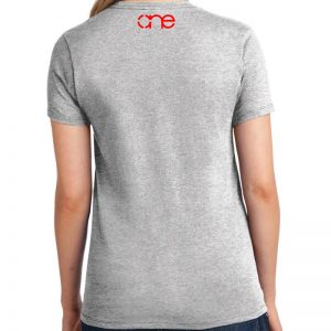 Ladies Ash Grey short sleeve shirt rear, with one logo in red on the upper back.