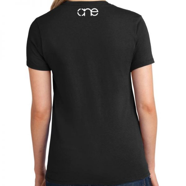 Ladies Black short sleeve shirt rear, with one logo in white on the upper back.