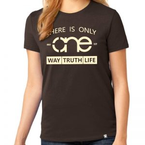 Ladies Dark Brown One Way Truth Life short sleeve Christian Tee Shirt, in Cream.
