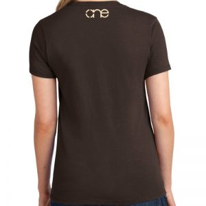 Ladies Dark Brown Short Sleeve Tee Shirt, One on upper back in Cream.