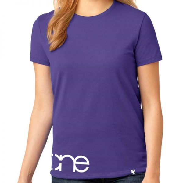 Ladies One waist christian tee in purple with white design.