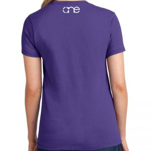 Ladies Purple short sleeve shirt rear, with one logo in white on the upper back.