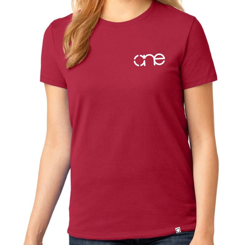 Ladies Red short sleeve shirt with the One logo in White, on the left side of the chest.