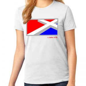 Ladies White short sleeve shirt with large Red, White, Blue, and Grey Cross that is laying down on the front chest.